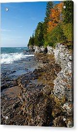 Acrylic Print featuring the photograph Cave Point County Park by Chuck De La Rosa