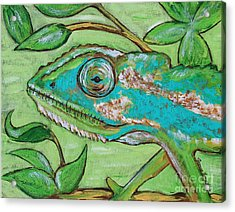 Chameleon Hitching A Ride Acrylic Print by Jeanne Forsythe