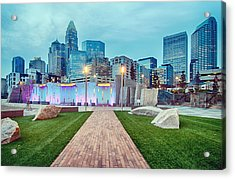 Charlotte City Skyline In The Evening Acrylic Print by Alex Grichenko