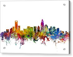 Charlotte North Carolina Skyline Acrylic Print by Michael Tompsett