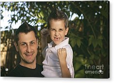 Cheering Child And Man Bonding On Fathers Day Acrylic Print by Jorgo Photography - Wall Art Gallery