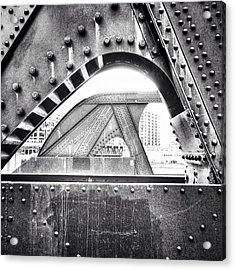 Chicago Bridge In Black And White Acrylic Print by Paul Velgos