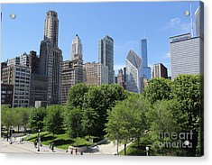 Chicago In Summer Acrylic Print by Michael Paskvan