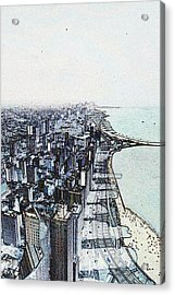 Chicago Lakefront Sketch Acrylic Print
