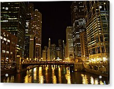 Chicago Nightscape Acrylic Print by John Babis