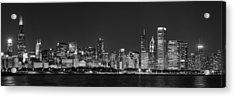 Chicago Skyline At Night Black And White Panoramic Acrylic Print