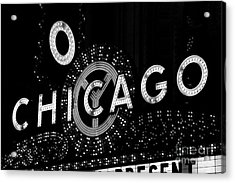 Chicago Theater Sign In Black And White Acrylic Print by Paul Velgos