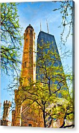 Chicago Water And Hancock Towers Acrylic Print by Christopher Arndt