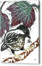 Chick A Dee  Block Print Acrylic Print by Ellen Miffitt