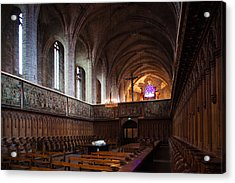 Choir Stalls At Abbatiale Saint-robert Acrylic Print by Panoramic Images
