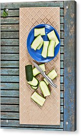 Chopped Courgette Acrylic Print by Tom Gowanlock