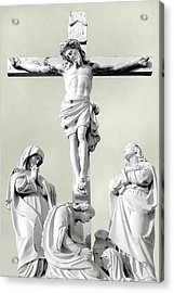 Christ On The Cross With Mourners Evansville Indiana 2006 Acrylic Print by John Hanou