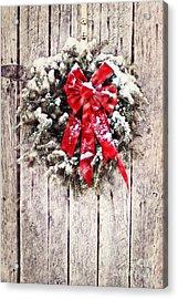 Christmas Wreath On Barn Door Acrylic Print by Stephanie Frey