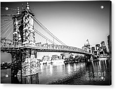 Cincinnati Roebling Bridge Black And White Picture Acrylic Print by Paul Velgos