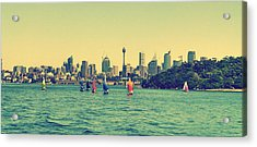 City And Sailing Boat Acrylic Print by Girish J