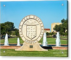 Acrylic Print featuring the photograph Classical Image Of The Texas Tech University Seal  by Mae Wertz
