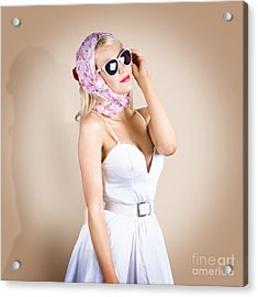 Classical Pinup Girl Posing In Retro Fashion Style Acrylic Print