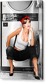 Cleaning Lady With A Dream Acrylic Print by Jorgo Photography - Wall Art Gallery