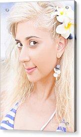 Clear Skin Woman With A Flower Near Face Acrylic Print