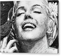 Close Up Beautifully Happy In Black And White Acrylic Print