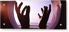 Close-up Of A Hand Sculpture, Sitges Acrylic Print by Panoramic Images