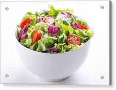 Close-up Of Fresh Salad In Bowl On White Background Acrylic Print by Vesna Jovanovic / EyeEm