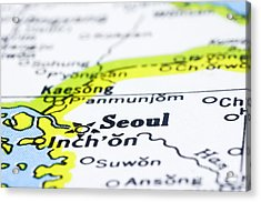 close up of Seoul on map-korea Acrylic Print by Tuimages