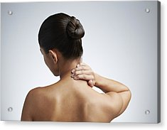 Close Up Of Woman Having Neck Pain Acrylic Print by Klaus Vedfelt