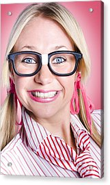 Closeup Portrait Of A Happy Female Office Worker  Acrylic Print