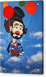Acrylic Print featuring the painting Clown Up Up And Away by Nora Shepley