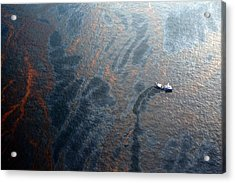 Coast Guard Attempts Burning Off Oil Leaking From Sunken Rig Acrylic Print by Chris Graythen