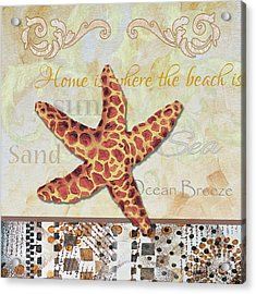 Coastal Decorative Starfish Painting Decorative Art By Megan Duncanson Acrylic Print by Megan Duncanson