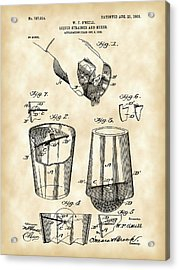 Cocktail Mixer And Strainer Patent 1902 - Vintage Acrylic Print