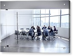 Colleagues At Business Meeting In Conference Room Acrylic Print by FangXiaNuo