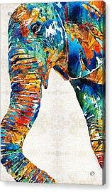 Colorful Elephant Art By Sharon Cummings Acrylic Print by Sharon Cummings
