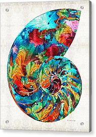 Colorful Nautilus Shell By Sharon Cummings Acrylic Print