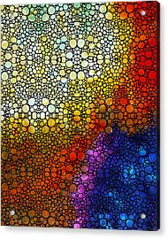 Colorful Stone Rock'd Abstract Art By Sharon Cummings Acrylic Print by Sharon Cummings
