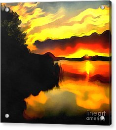 Colors At The Lake Acrylic Print by Odon Czintos