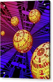 Computer Artwork Of Spheres Covered In Circuits Acrylic Print by Mehau Kulyk/science Photo Library