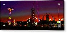 Coney Island Amusement Park And Parachute Jump Acrylic Print