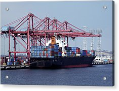 Container Ship And Cranes Acrylic Print