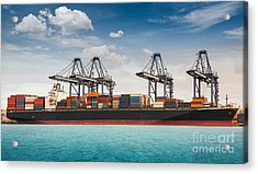 Container Ship Berthing Port Acrylic Print