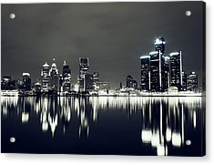 Cool Detroit Night Skyline Acrylic Print