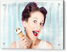 Cool Pin-up Woman In Cold Freezer With Ice-cream Acrylic Print