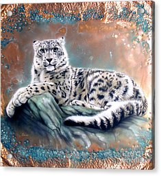 Copper Snow Leopard Acrylic Print