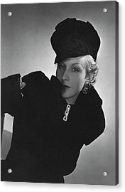 Cora Hemmet Wearing Reboux And Boucheron Acrylic Print by Horst P. Horst