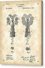 Corkscrew Patent 1886 - Vintage Acrylic Print by Stephen Younts