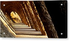 Corridor In A Park, Park Guell Acrylic Print by Panoramic Images