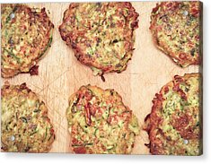 Courgette Fritters Acrylic Print by Tom Gowanlock
