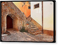 Courtyard Of Old House In The Ancient Village Of Cefalu Acrylic Print by Stefano Senise